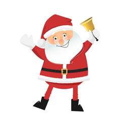 smiling santa claus with bell vector image vector image