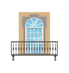 balcony with wrought iron railing classical house vector image
