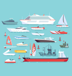 big set of sea boats and little fishing ships vector image vector image