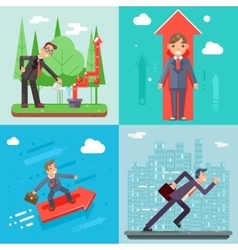 Businessman Characters Set Experienced vector image