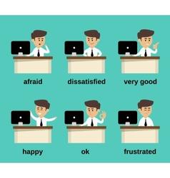 Businessman emotions set vector image vector image