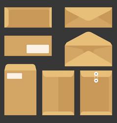 envelope icons set flat design vector image