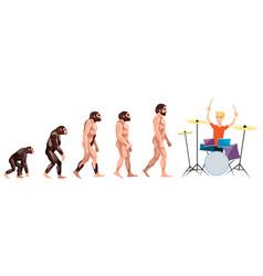 evolution drummer on white background vector image