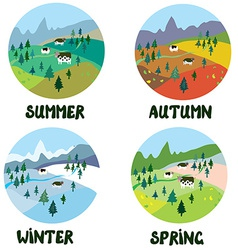 Farm rural landscape in four seasons vector image