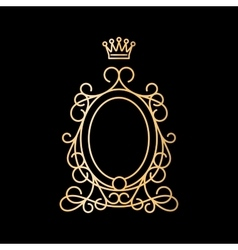 Golden vintage oval frame with crown vector image vector image