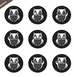 group of owl in the circle vector image vector image