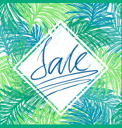 sale lettering on jangle leaves background vector image