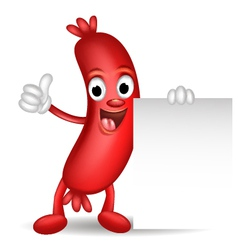 sausage cartoon holding blank sign vector image vector image