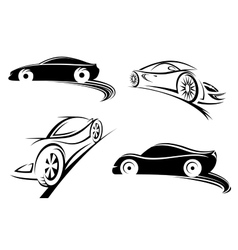 Sports racing car black silhouettes vector image vector image