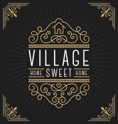 Flourish line vintage frame label logo design vector image