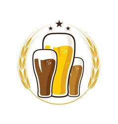iluustration of glasses with beer vector image vector image