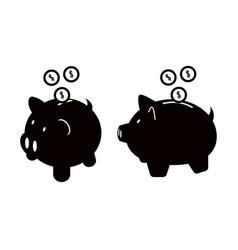 piggy bank icons set isolated on white background vector image