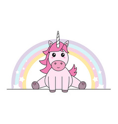 pink unicorn with rainbow sitting pastel colors vector image