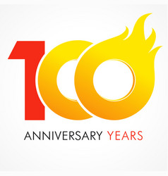 100 anniversary flame logo vector