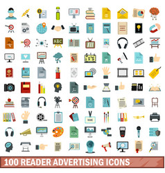 100 reader advertising icons set flat style vector
