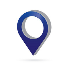 3d metal blue map pointer icon marker gps vector