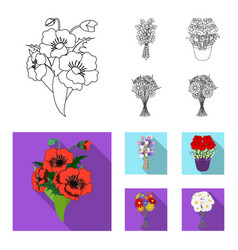 a bouquet of fresh flowers outlineflat icons in vector image