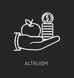Altruism chalk white icon on black background vector