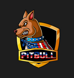 Angry pitbull wearing a scarf in color vector