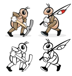 Ant profession digger and fisherman vector