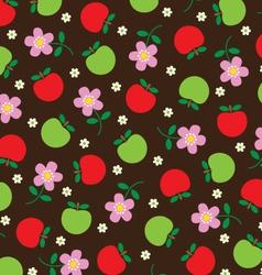 Apples on flowers vector