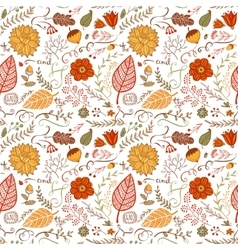 Autumn floral seamless background vector