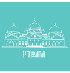 baiturrahman mosque Islam historic building in vector image