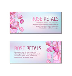 Banners with rose petals vector