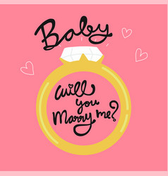 bawill you marry me word in diamond ring vector image