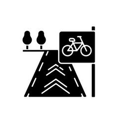 Bicycle lane black glyph icon vector