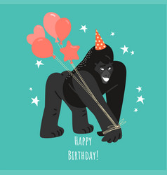 birthday greeting card with a funny gorilla vector image