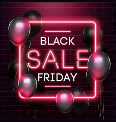 black friday sale neon background black weekend vector image