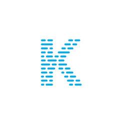 blue stripes logo letter k vector image