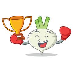 boxing winner turnip mascot cartoon style vector image
