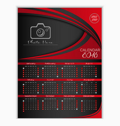 calendar for 2018 red background design template vector image