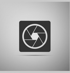 camera shutter icon isolated on grey background vector image
