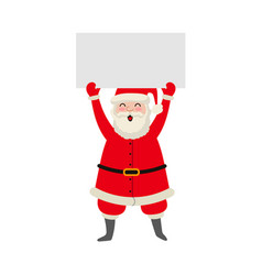 cartoon santa keeping blank paper in hands vector image
