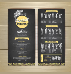Chalk drawing cocktail menu design vector