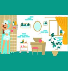 Character female take shower joyful young girl vector