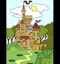 childs colored picture castle in the forest the vector image