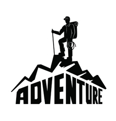 climber on a mountain vector image