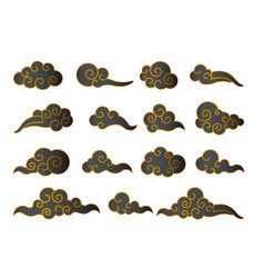 cloud in chinese style abstract black and gold vector image