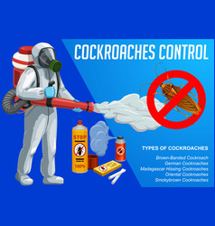 cockroach insect control with cold fogging method vector image