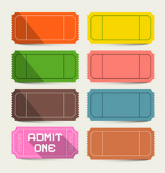 Colorful tickets set admit one ticket vector