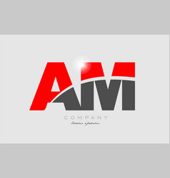 Combination letter am a m in grey red color vector