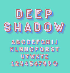 cool deep isometric font alphabet letters numbers vector image