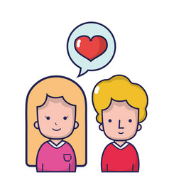 couple together with heart inside chat bubble vector image