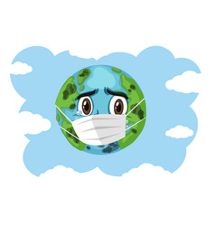 Crying earth wearing mask on blue sky background vector