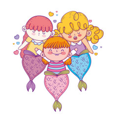 cute mermaids fairy tales vector image