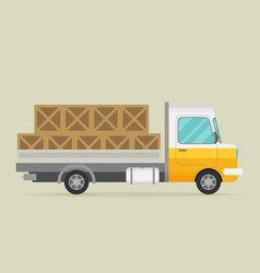 Delivery truck with wooden boxes vector